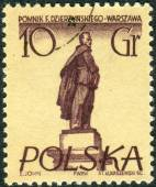 Postage stamp printed in Poland, shows a monument to Soviet statesman, Polish and Russian revolutionary Felix Dzerzhinsky, Warsaw — Stock Photo