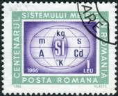 Postage stamp printed in Romania, dedicated to the centenary of the metric system in Romania is shown Metric system symbols — Stockfoto