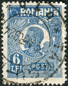 Postage stamp printed in Romania shows Ferdinand I of Romania — Foto Stock