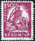 Postage stamp printed in Romania shows Blast furnace — Stock Photo