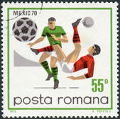 Postage stamp printed in Romania, dedicated to the FIFA World Cup in Mexico in 1970, shows the game scenes and moments — Stockfoto