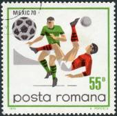 Postage stamp printed in Romania, dedicated to the FIFA World Cup in Mexico in 1970, shows the game scenes and moments — Foto Stock