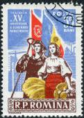 Postage stamp printed in Romania, dedicated to the 15th anniversary of Romania's liberation from the Germans, shows Steel Worker and Farm Woman — Foto Stock