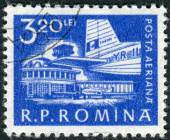 Postage stamp printed in Romania shows Airplane at Bucharest Airport — Stock Photo