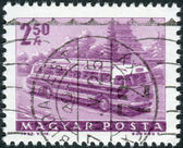 Postage stamp printed in Hungary shows a Tourist bus — Stock Photo
