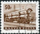 Postage stamp printed in Hungary shows Railroad tank car — Stock Photo