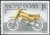 Postage stamp printed in Hungary shows a motorcycle Fantic Sprinter, 1984 — Photo