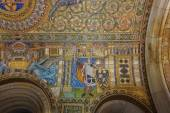 Mosaic on the ceiling of Kaiser Wilhelm Memorial Church. Partially restored interior. Berlin. — Stock Photo