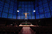 Interior of Kaiser Wilhelm Memorial Church (modern building). Crucified Jesus Christ, by architect Karl Hemmeter — Stock Photo