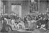 """Congress of Vienna in 1814 by engraving Jean Godefroy on drawing Jean-Baptiste Isabey. Publication of the book """"A Century in the text and pictures"""", Berlin, Germany, 1899 — Stock Photo"""