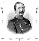 """Portrait of Wilhelm II, German Emperor. Publication of the book """"A Century in the text and pictures"""", Berlin, Germany, 1899 — Stock Photo"""