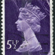 Postage stamp printed in England, shows a portrait of Queen Elizabeth II — Stock Photo #57025853