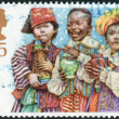 Postage stamp printed in England, Christmas Issue, shows a Children's Nativity Plays, Three Wise Men — Stock Photo #57026023