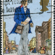 Postage stamp printed in England, dedicated to Death Centenery of Sir Rowland Hill, shows a London Postman, 1839 — Stock Photo #57027091