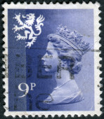 Postage stamp printed in Scotland, shows a portrait of Queen Elizabeth II — Stockfoto