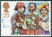 Postage stamp printed in England, Christmas Issue, shows a Children's Nativity Plays, Three Wise Men — Stock Photo