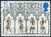 Postage stamp printed in England, is dedicated to 800th Anniversary of Ely Cathedral, shows a 14th Century Peasants from Stained-glass Window — Fotografia Stock