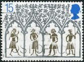 Postage stamp printed in England, is dedicated to 800th Anniversary of Ely Cathedral, shows a 14th Century Peasants from Stained-glass Window — Foto Stock