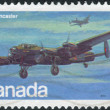 Postage stamp printed in Canada shows a British four-engined Second World War heavy bomber, Avro Lancaster — Stock Photo #57682153