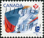Postage stamp printed in Canada, devoted Winter Olympic Games in Vancouver, shows Sledge Hockey — Stock Photo