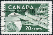 Postage stamp printed in Canada, dedicated to Paper Industry, shows the Pulp and Paper — Stock fotografie