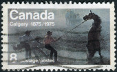 "Postage stamp printed in Canada, dedicated to Centenary of the founding of Calgary, shows the ""Untamed"" (Wild Horse Race) — Foto Stock"
