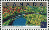 Postage stamp printed in Canada shows Tourist Attractions - Agawa Canyon, Ontario — Stock Photo