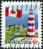 Postage stamp printed in Canada, shows lighthouse on Sambro Island, Nova Scotia — Stock Photo