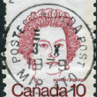 Postage stamp printed in Canada, shows portrait of Queen Elizabeth II — Stock Photo #57762123