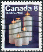 Postage stamp printed in Canada, Christmas issue, shows Christmas candles — Stock Photo
