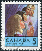 Postage stamp printed in Canada, Christmas issue, shows Children of Various races — Stock Photo