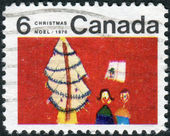 Postage stamp printed in Canada, Christmas issue, shows Children and Christmas Tree — Stock Photo