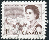 Postage stamp printed in Canada, shows Northern Lights and Dog Team, a portrait of Queen Elizabeth II — Stock Photo