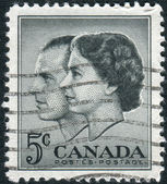 Postage stamp printed in Canada, dedicated to the Visit of Queen Elizabeth II and Prince Philip to Canada — Stock Photo