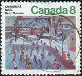 Postage stamp printed in Canada, shows Skaters at Hull, by Henri Masson — Stock Photo