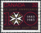 Postage stamp printed in Canada, dedicated to the centenary of St. John Ambulance — Photo