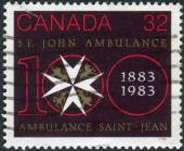 Postage stamp printed in Canada, dedicated to the centenary of St. John Ambulance — Stock Photo