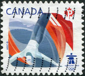 Postage stamp printed in Canada, devoted to the Winter Olympic Games in Vancouver, shows freestyle — Stock Photo
