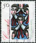 Postage stamp printed in Canada, Christmas Issue, shows Traditional Choir Group — Stock Photo