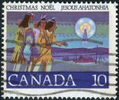 Postage stamp printed in Canada, Christmas Issue, shows Hunters Following Star — Stock Photo