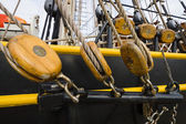 Detail of rigging of sailing ship. — Stock Photo