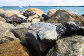 Stone shore. Background. Focus on foreground. — Stock Photo