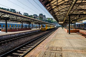 Prague Main Railway Station. Prague is the capital and largest city of the Czech Republic. Stylization. Toning. — Stock Photo
