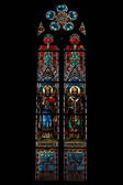 Stained glass window of St. Ludmila Church (St. Ludmila of Bohemia) — Stock Photo