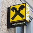 The branch of Raiffeisen Bank. Raiffeisen Bank - the largest co-operative banks in Europe, has more than 3,000 branches and 58,000 employees. — Zdjęcie stockowe #59907717