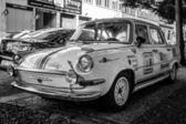 Sporty version of the popular in the 60s car from Czechoslovakia - Skoda 1000MB. Produced more than 400,000 cars. Black and white. — Stock Photo