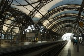 The railway station. Dresden is the capital city of the Free State of Saxony in Germany. — Stock Photo