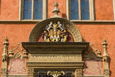 Fragment of decorative stucco molding of the old town hall. Prague. — Stock Photo