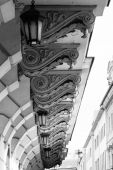 Architectural element (Corbel) old house. Black and white. — Stock Photo