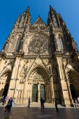 The Metropolitan Cathedral of Saints Vitus, Wenceslaus and Adalbert. The cathedral is an excellent example of Gothic architecture. — Stock Photo